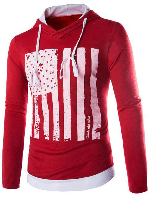 Drawstring Flag Pattern Contrast Trim Pullover Hoodie - RED L