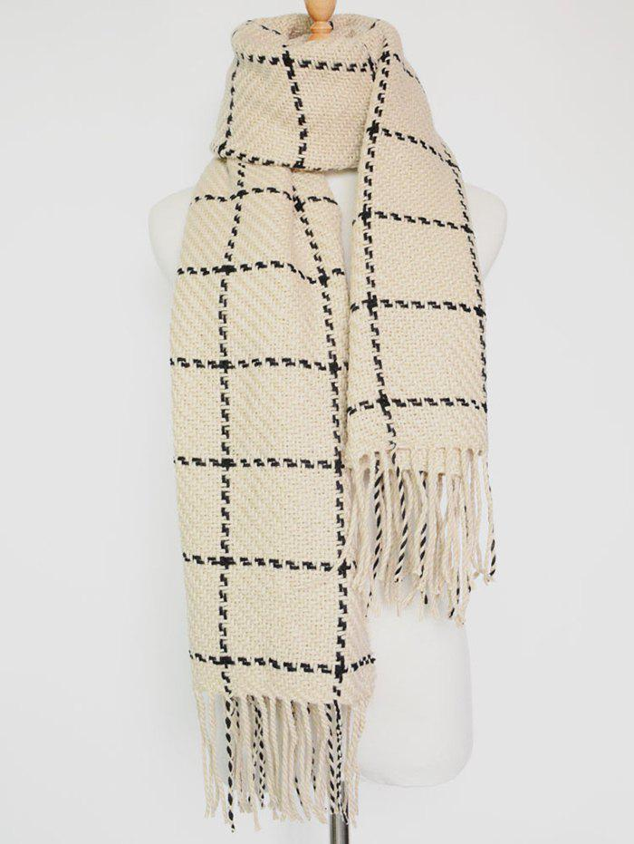 Tasseled Plaid Knitted Scarf rosicil consumer cap knitted scarf