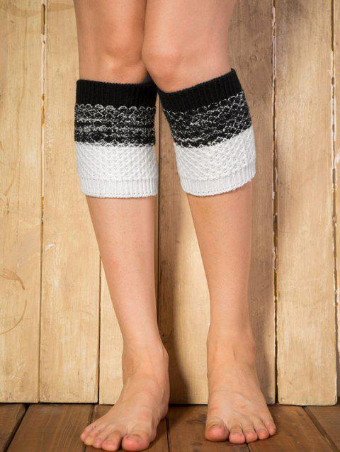 Chaud Color Block Yoga Crochet Knit Boot Cuffs - Noir