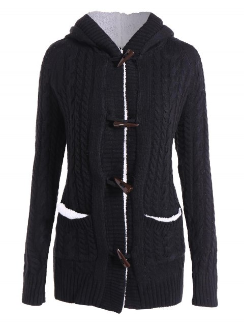 Chic manches longues femmes Solid Color Hooded Cardigan - Noir S