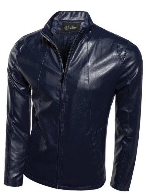 Mince Zip-Up Stand Collar PU-Veste en cuir - Cadetblue M