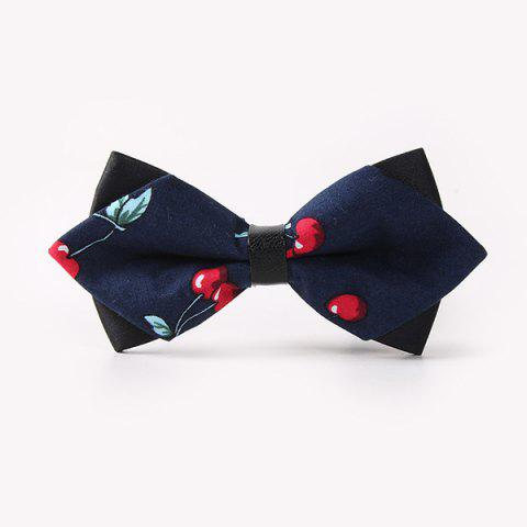 Business Suit Cherry Print Sharp-Angled Double-Deck Bow Tie - CADETBLUE