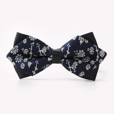 Business Suit Sketch Flower Imprimer Sharp Angled Double-Deck Bow Tie - Bleu Violet