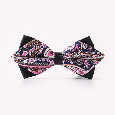 Business Suit Ethnic Paisley Print Sharp-Angled Double-Deck Bow Tie - CADETBLUE
