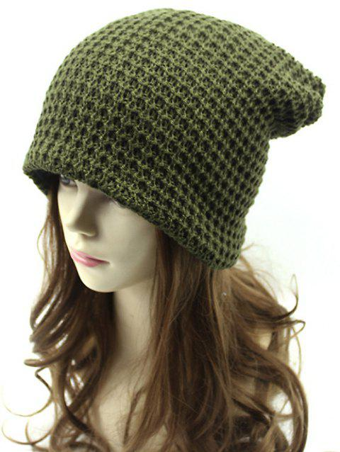 Casual Openwork Weaving Double-Deck Knit Beanie - ARMY GREEN