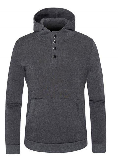 Hoodie Button Kangaroo Pocket snap - gris foncé 2XL