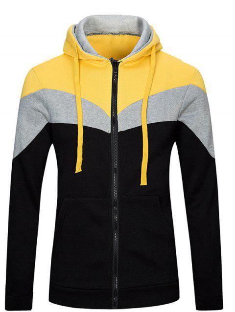 Long Sleeve Color Splicing Zip Up Hoodie - BLACK L