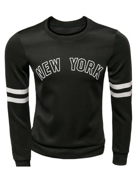 New York Varsity Striped Graphic Sweatshirts - BLACK L