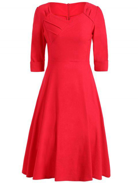 Vintage Sweetheart Neck Swing High Waist Dress - RED XL