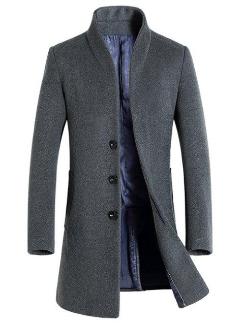 Side Pocket pied de col en laine Blend Coat - Gris L