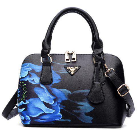 Wintersweet Printed Handbag - BLACK