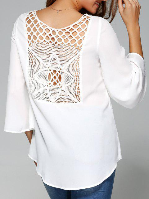 40155c61f23fcb 41% OFF] 2019 Back Openwork Asymmetric Blouse In WHITE | DressLily