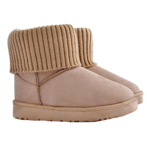 Ribbed Knitted Flock Snow Boots - APRICOT 38