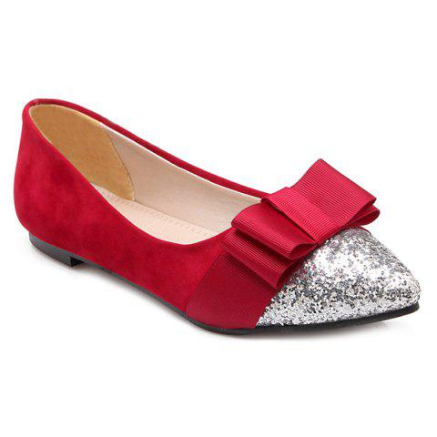 Bow Glitter Color Block Flat Shoes - RED 43