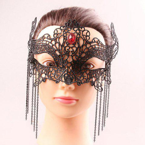 Mystical Half Face Hollow Out Lace Chains Zircon Masquerade Masks - BLACK