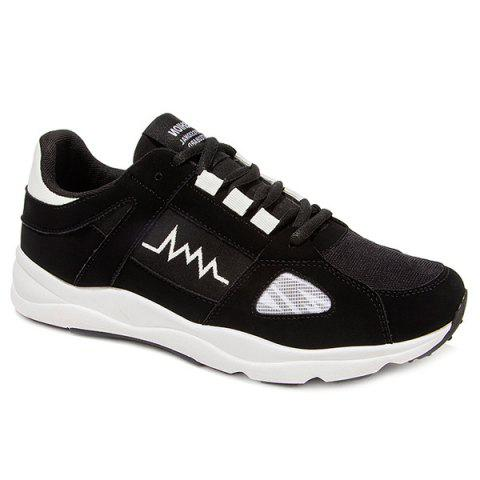Tie Up Suede Colour Block Athletic Shoes - BLACK 40