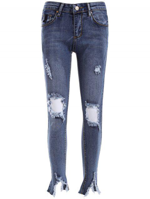 Ripped BF Ankle Pencil Jeans - DENIM BLUE 27