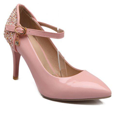 Patent Leather Pointed Toe Sequin Pumps - PINK 42