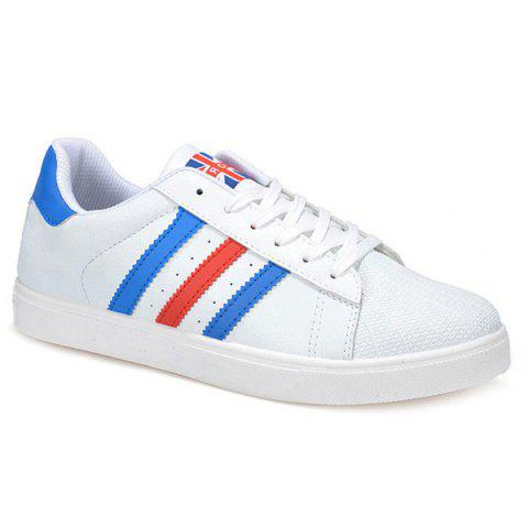 Lace-Up Color Splicing Striped Pattern Casual Shoes - Bleu 42