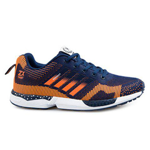 Tie Up Breathable Color Spliced Athletic Shoes - BLUE/ORANGE 42