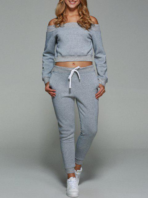 a28e66dc35b9a Active Off Shoulder Cropped Sweatshirt With Pants Gym Suit - LIGHT GRAY L