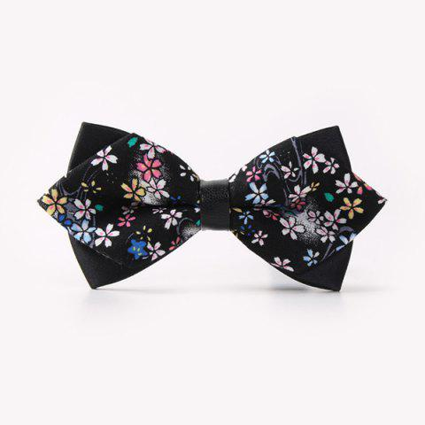 Business Suit Teeny Flower Print Sharp-Angled Double-Deck Bow Tie - BLACK