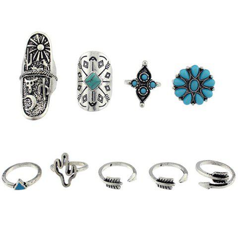 Triangle Cactus Engraved Sun Moon Ring Set - SILVER ONE-SIZE