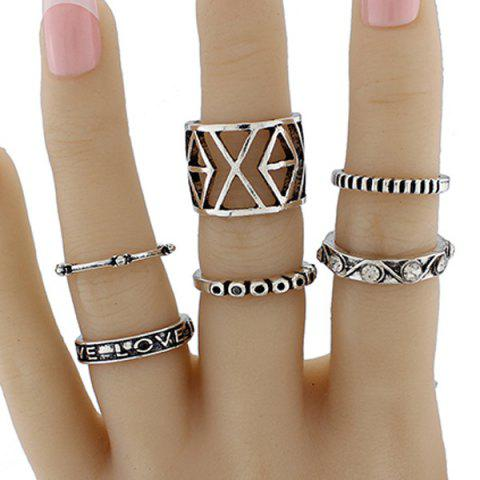Geometric Engraved Love Jewelry Ring Set - SILVER ONE-SIZE