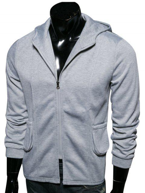Poches Zip-Up Hoodie capuche embellies - Gris M
