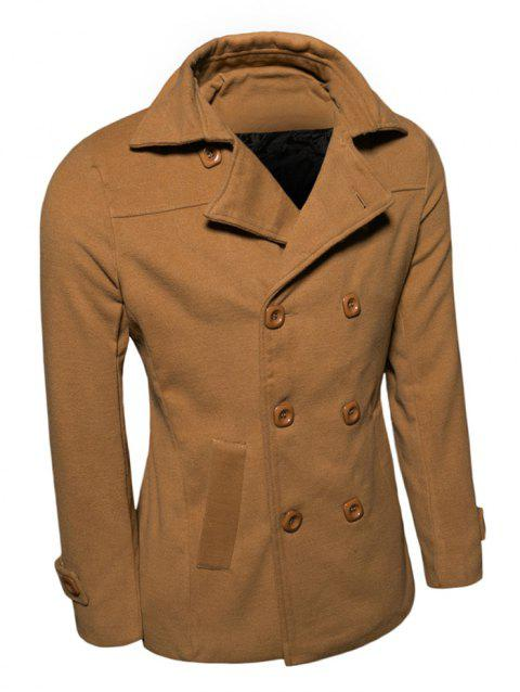 Turn-Down Collar Double Breasted Wool Coat - EARTHY XL