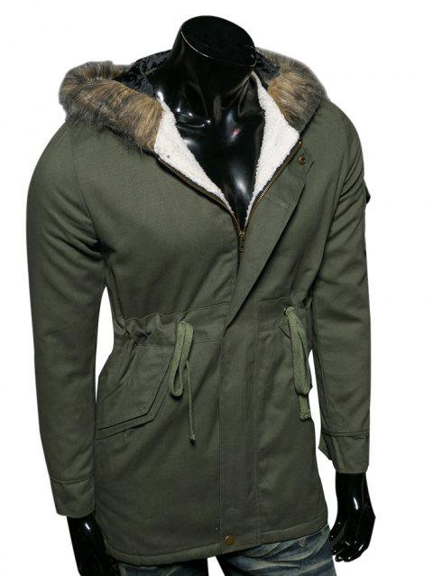 Faux Fur Collar Hooded Cotton-Padded Drawstring Parka Coat - ARMY GREEN L