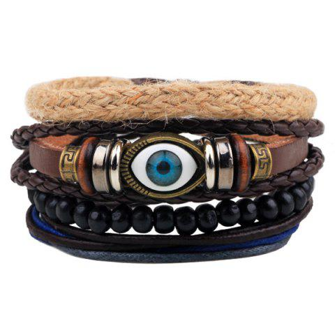 Evil Eye Faux Leather Braided Bracelets - COFFEE
