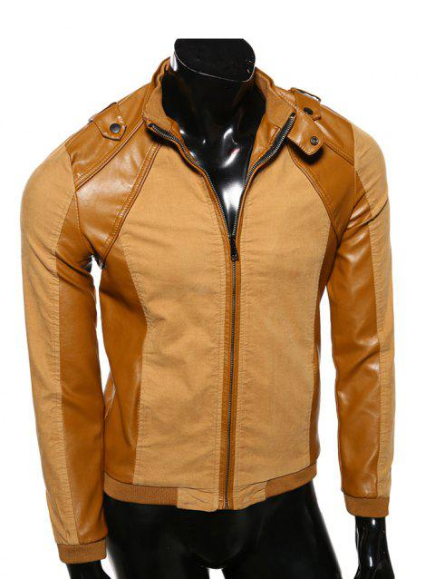 PU-cuir Splicing stand Collar Epaulet design Jacket - Terreux L