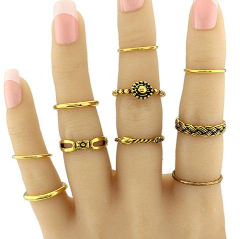 Braid Circle Geometric Jewelry Ring Set - GOLDEN ONE-SIZE