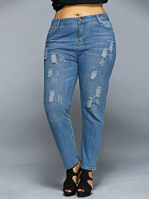 Dots Ripped Jeans - LIGHT BLUE S
