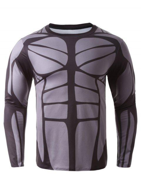 Long Sleeves 3D  Muscle Print T-Shirt - COLORMIX XL