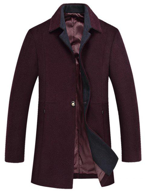 Much Pocket Design Woolen Blend Coat - WINE RED 3XL