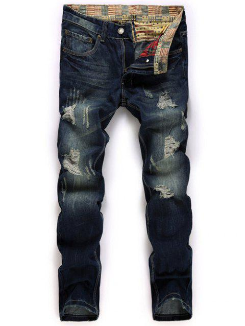Straight Leg Zipper Fly Destroyed Jeans - DEEP BLUE 32