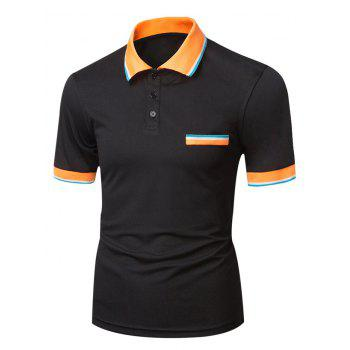 Color Block Edging Short Sleeve Varsity Stripe Polo T-Shirt