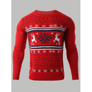 Snowflake Deer Jacquard Christmas Sweater
