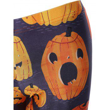 Pumpkin Print Elastic Hallowmas Leggings - COLORMIX COLORMIX