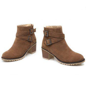Double Buckles Chunky Heel Suede Ankle Boots - BROWN 39