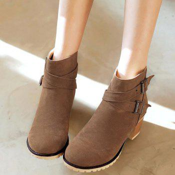 Double Buckles Chunky Heel Suede Ankle Boots - BROWN 37