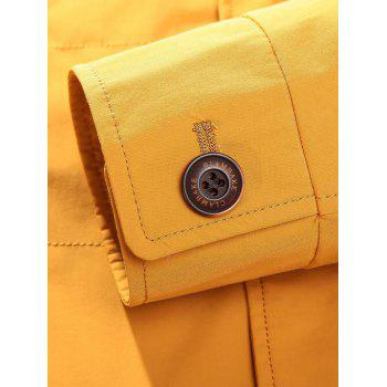 Button Pocket Zip Up Jacket - YELLOW 3XL