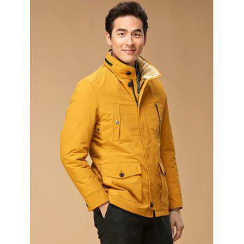 Snap bouton Zip Jacket Up Hooded - Jaune M