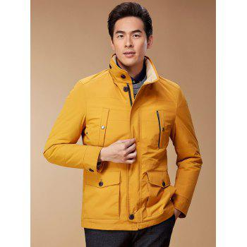 Button Pocket Zip Up Jacket - YELLOW M