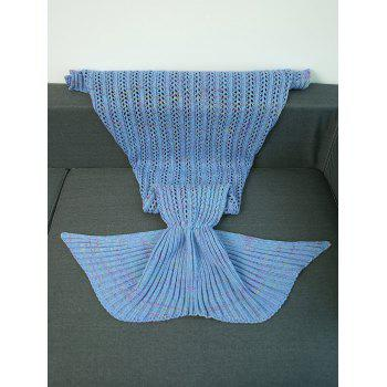 Crochet Hollow Out Knitting Mermaid Tail Style Blanket -  BLUE