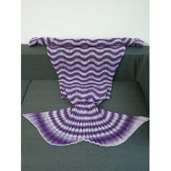 High Quality Wave Stripe Knitting Mermaid Tail Style Blanket - PURPLE