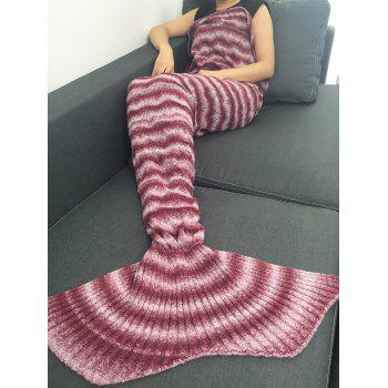 High Quality Knitting Wave Stripe Mermaid Tail Style Blanket