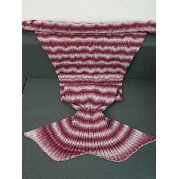 Haute Qualité Knitting Vague Stripe Mermaid Tail style Blanket - Rouge